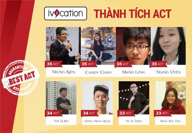 Bảng vàng thành tích ACT của Ivycation