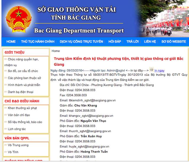 Thông tin về Trung tâm kiểm định kỹ thuật phương tiện, thiết bị giao thông cơ giới Bắc Giang trên Trang thông tin của Sở GTVT Bắc Giang.