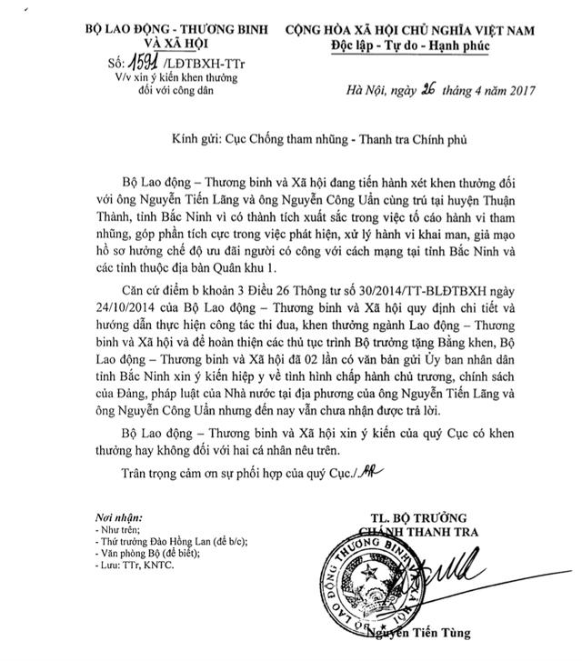 Văn bản của Bộ Lao động-Thương binh và Xã hội xin ý kiến Cục Chống tham nhũng (Thanh tra Chính phủ).