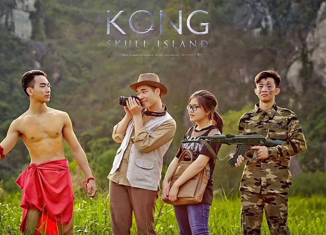 Ê-kíp xử lý ảnh hậu kỳ đã mất khá nhiều thời gian để ghép hình ảnh chú Kong trong phim vào bộ ảnh, khiến bối cảnh càng trở nên sinh động giống như thật.