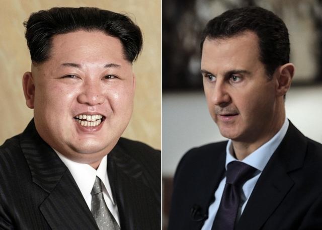 Nhà lãnh đạo Triều Tiên Kim Jong-un (trái) và Tổng thống Syria Bashar al-Assad (Ảnh: AFP)