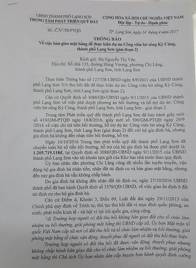 Mặc dù đang bị một số hộ dân khởi kiện ra Tòa án nhân dân tỉnh Lạng Sơn nhưng UBND thành phố Lạng Sơn vẫn ra văn bản bàn giao mặt bằng để thực hiện dự án.