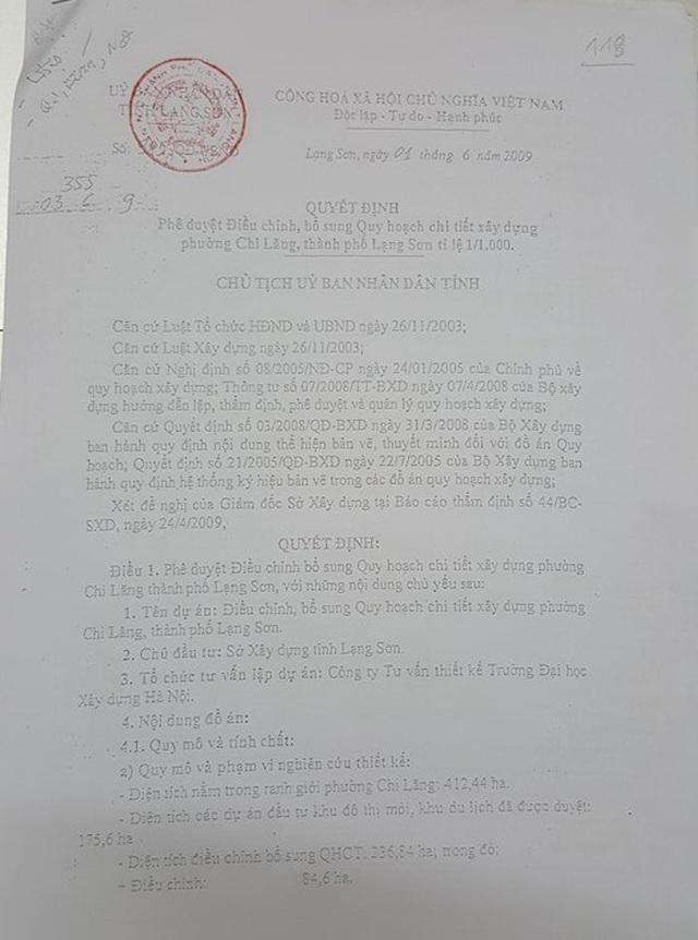 Quyết định phê duyệt điều chỉnh bổ sung quy hoạch chi tiết xây dựng phường Chi Lăng thành phố Lạng Sơn tỉ lệ 1/1000 (ngày 01/6/2009). Trong quyết định này có nhắc đến việc quy hoạch chi tiết công viên ven sông Kỳ Cùng.