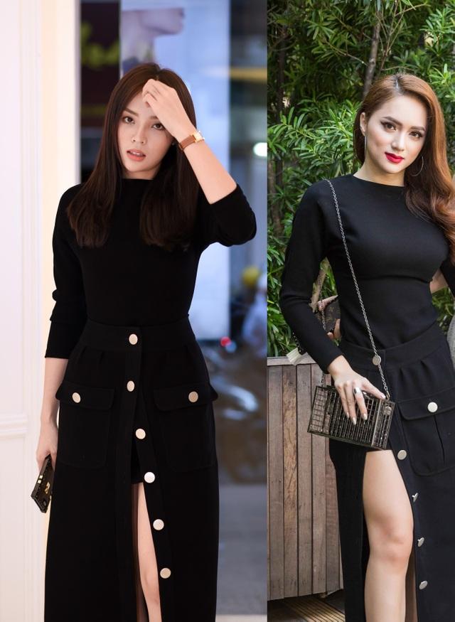 Bất ngờ hơn, chiếc váy của Hương Giang Idol chọn cũng chính là trang phục từng được hoa hậu Kỳ Duyên sử dụng trước đó.