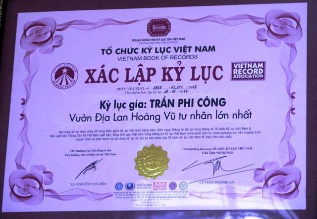Năm 2017 Tổ chức kỷ lục Việt Nam xác nhận đây là vườn địa lan Hoàng Vũ tư nhân lớn nhất nước