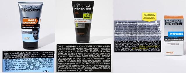 Gel tắm LOreal men có chứa Propylparaben, Butylparaben, Methylisothiazolinone và Kem chống nhăn LOreal men có Ethylhexyl, methoxycinnamate