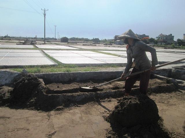 Dưới cái nắng chói chang của mùa hè, những diêm dân vẫn cật lực lao động mong thu về những đồng tiền từ mồ hôi, công sức lao động của mình