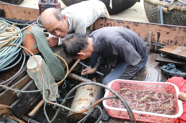 Không được may mắn nên thuyền của ông Việt bắt được ít tôm hơn