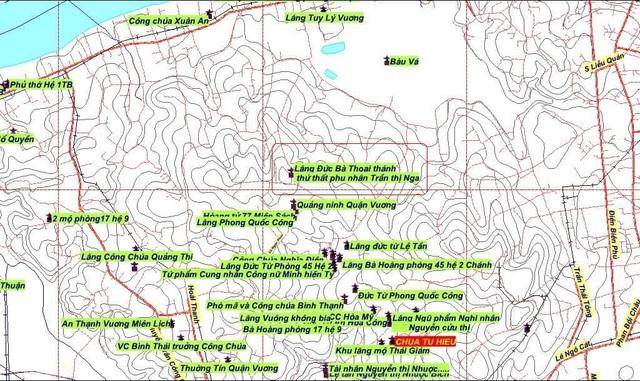 Khu vực bản đồ có lăng mộ bà Trần Thị Nga, mẹ vua Dục Đức (phần khoanh viền đỏ) - ảnh: Hội đồng Trị sự Nguyễn Phúc Tộc cung cấp