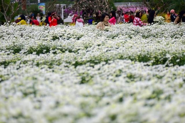 """Chị Hoa (28 tuổi, Hà Nội) cho biết, dù đến vườn hoa từ khoảng 9h sáng nhưng chị vẫn phải xếp hàng, chờ đợi để có được những bức ảnh đẹp. """"Ngày cuối tuần nên lượng người đến rất đông, ở khu vực hoa nở đẹp các đoàn khách phải thay phiên nhau mới đến lượt, rất vất vả và mệt mỏi"""", chị Hoa nói."""