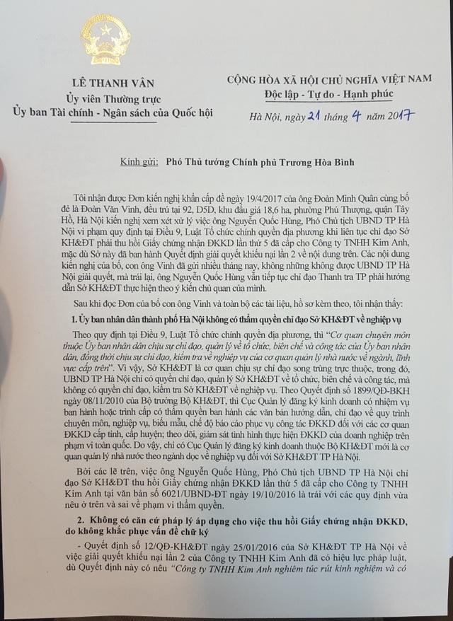 """Đại biểu Quốc hội """"vạch rõ"""" bất thường trong vụ thu hồi giấy phép đăng ký kinh doanh ở Hà Nội - 2"""