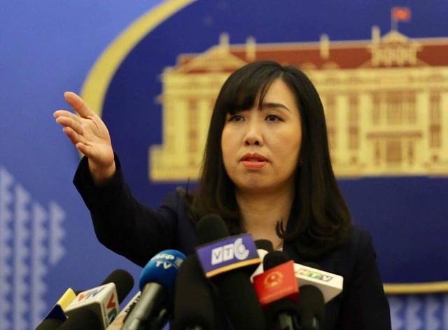 Người phát ngôn Lê Thị Thu Hằng yêu cầu các bên liên quan tôn trọng quyền và lợi ích hợp pháp của Việt Nam ở Biển Đông