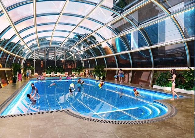 Phối cảnh bể bơi trong nhà của dự án