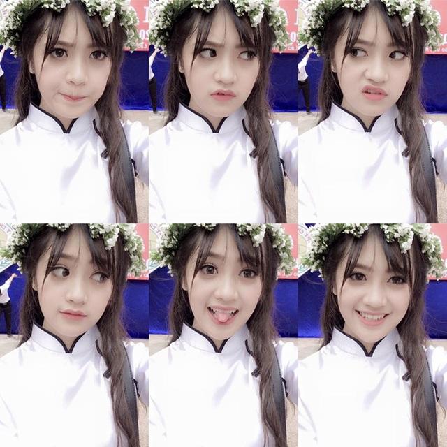 Khánh Linh khi mặc đồng phục nữ sinh.