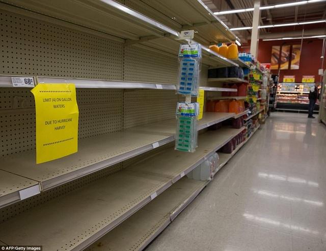 Các mặt hàng thiết yếu được tiêu thụ nhanh chóng tại siêu thị sau bão Harvey (Ảnh: AFP/Getty)