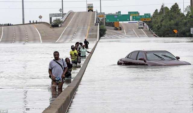 Người dân dò dẫm đi qua con đường 610 ở Houston bị ngập để đi sơ tán (Ảnh: AP)