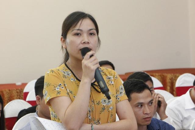 Đội viên Dự án 600 Phó Chủ tịch UBND xã phát biểu tại hội nghị