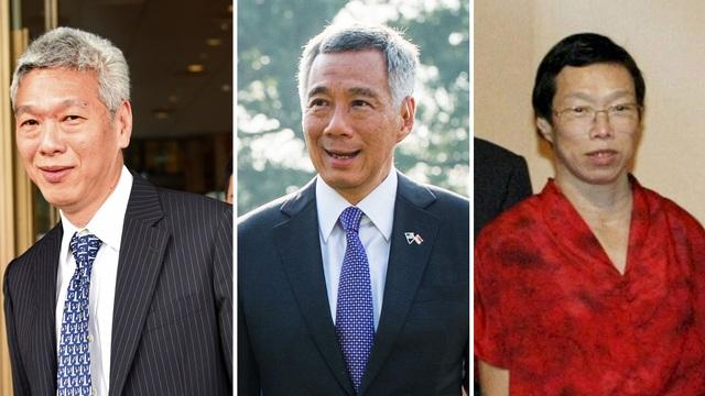 Thủ tướng Lý Hiển Long (giữa) và em gái Lý Vỹ Linh và em trai Lý Hiển Dương (Ảnh: Getty, Reuters)