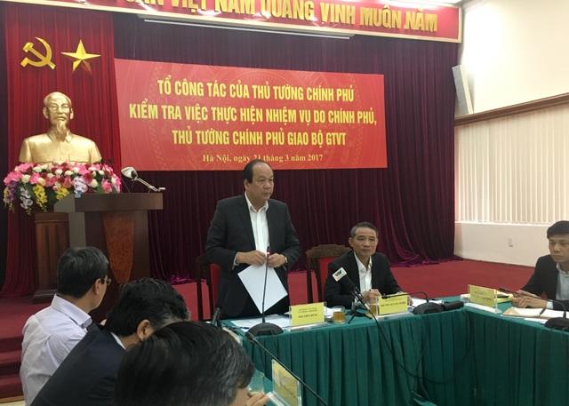 Tổ công tác của Thủ tướng Chính phủ làm việc với Bộ GTVT sáng 21/3.
