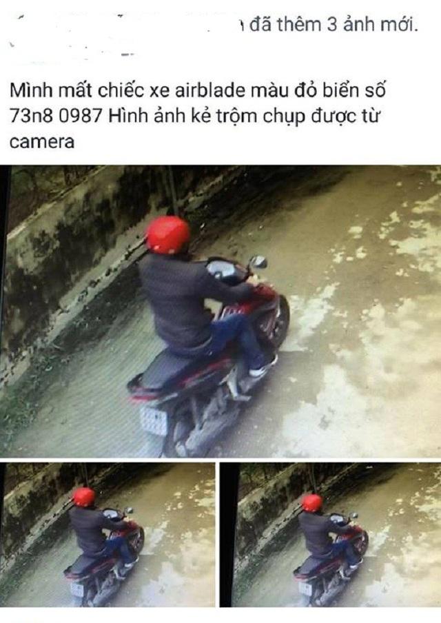Thông tin xe máy mất trộm được gia đình chị Huệ đăng tải trên mạng xã hội Facebook