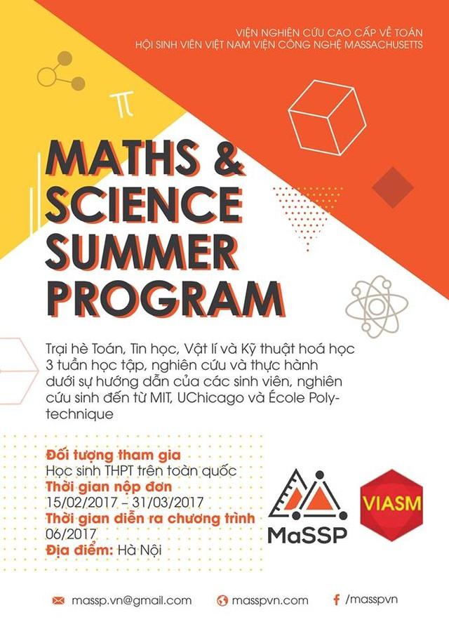 MaSSP là Trại hè Toán và Khoa học miễn phí cho đối tượng học sinh cấp 3 do 4 nữ du học sinh Việt tại Mỹ sáng lập.