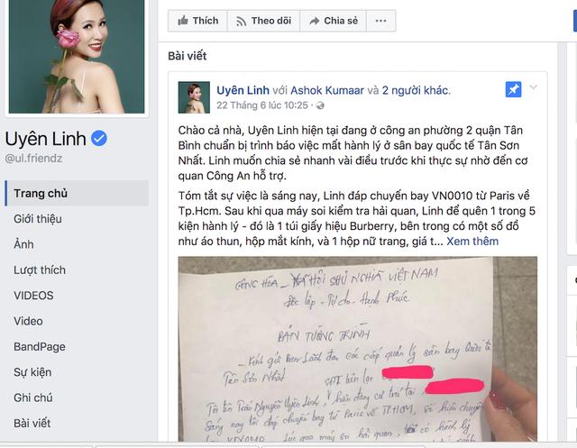 Ca sĩ Uyên Linh chia sẻ thông tin trên trang cá nhân