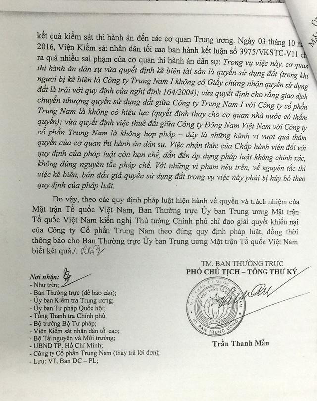 Ban Thường trực Uỷ ban Trung ương Mặt trận Tổ quốc Việt Nam đã có văn bản gửi Thủ tướng Chính phủ nêu ý kiến về việc Công ty Cổ phần Trung Nam.