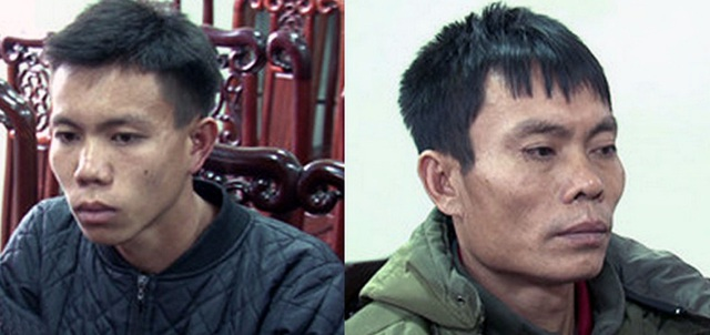 Hai đối tượng Quang Văn Ai (bên phải) và con trai là Quang Văn Toàn. (Ảnh: Minh Khôi - NTV)