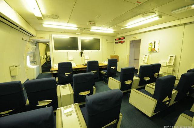 Phòng họp báo trên máy bay. (Ảnh: CBS)