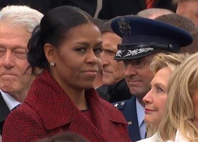 Cựu Đệ nhất phu nhân Mỹ Michelle Obama trong lễ tuyên thệ nhậm chức hôm 20/1 của Tổng thống Donald Trump. (Ảnh: Twitter)