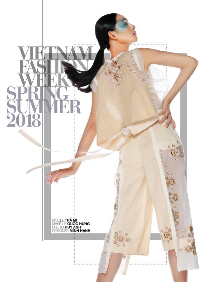 NTK Minh Hạnh giới thiệu các BST trên những chất liệu truyền thống như tơ tằm Nhật Minh, và một khám phá mới về chất liệu cho ngành thời trang Việt là vải gai Thiên Ấn, Quảng Ngãi và gai An Phước, Thanh Hóa.