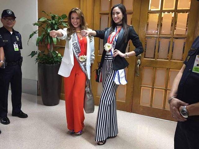Hoa hậu Costa Rica - Carolina Rodriguez và Hoa hậu Nicaragua - Marina Jacoby đã tới Manila tham dự cuộc thi Hoa hậu Hoàn vũ 2016