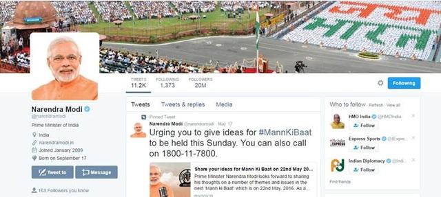 Trang mạng xã hội Twitter của Thủ tướng Narendra Modi ở thời điểm cán mốc 20 triệu lượt người theo dõi (Ảnh: Indian Express)