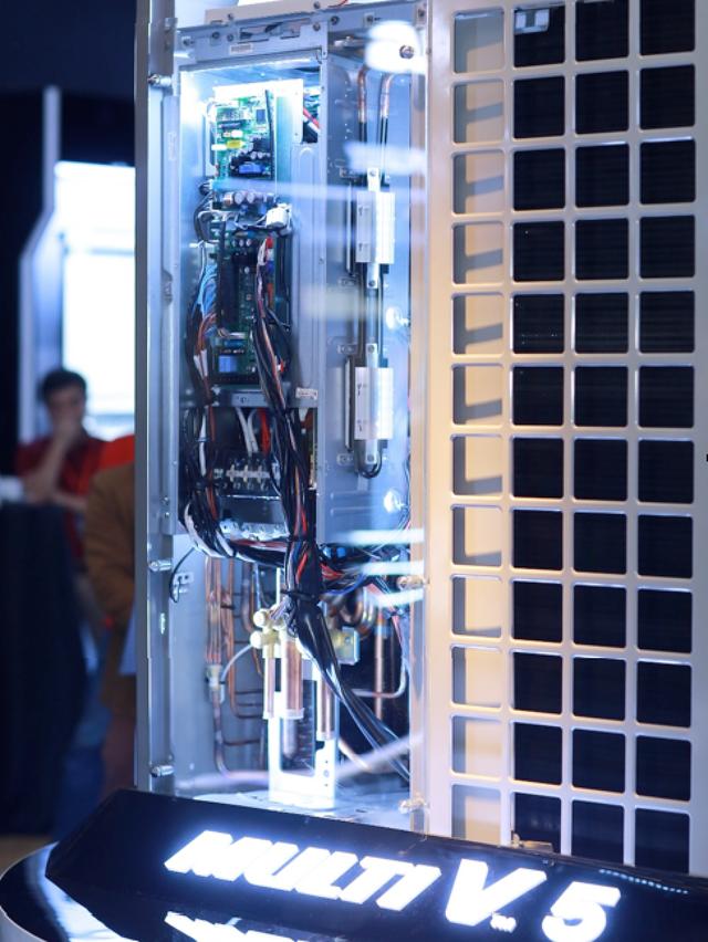 Máy nén Inverter nằm trong dàn trao đổi nhiệt với máy nén biến tần có dải tần số dòng điện rộng