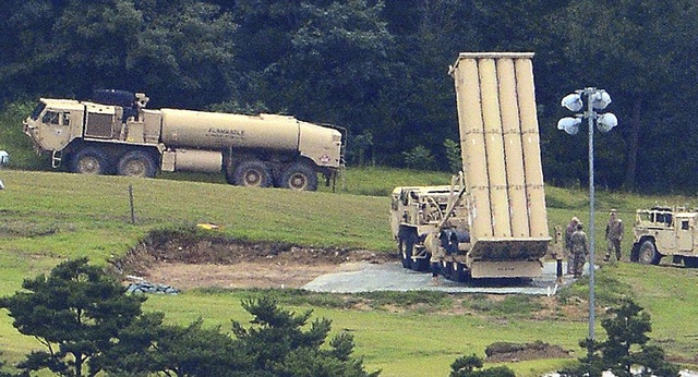 Hệ thống phòng thủ ten lửa THAAD do Mỹ triển khai ở Hàn Quốc (Ảnh: Japan Times)
