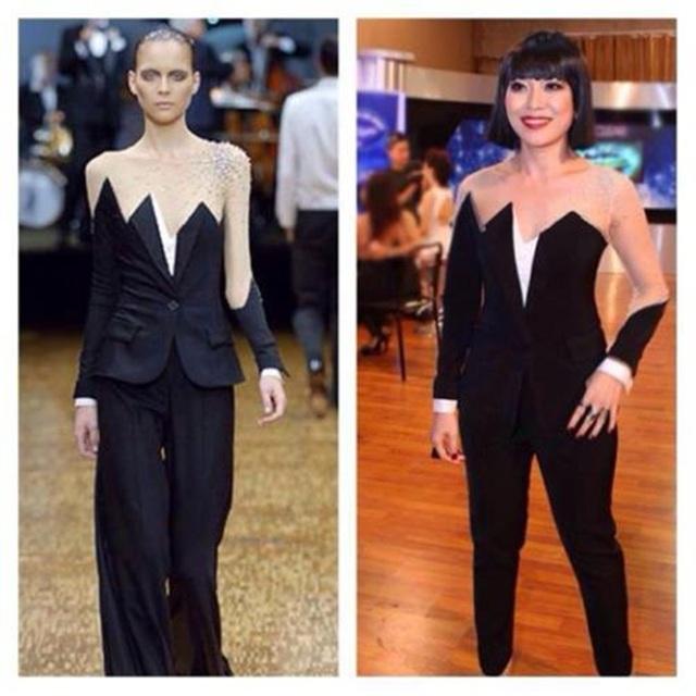 """Xuất hiện trên ghế nóng đêm Gala 3 Vietnam Idol, Mỹ Tâm không chỉ bị """"mất điểm"""" vì diện trang phục vướng nghi án đạo thiết kế mẫu thiết kế xuân hè 2007 của thương hiệu Viktor & Rolf, mà chiếc váy ngồi ghế nóng của cô cũng nhận phải nhiều lời chê bai vì không hợp vóc dáng."""