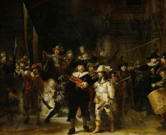 """Bức """"The Night Watch"""" (Phiên tuần đêm - 1642) do danh họa Rembrandt van Rijn thực hiện, đang được trưng bày tại Bảo tàng Rijksmuseum, Amsterdam, Hà Lan."""