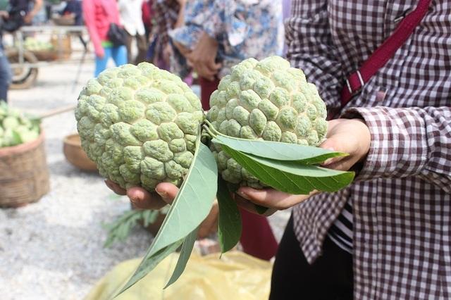 Trọng lượng và chất lượng na năm nay so với năm ngoái là tốt hơn chị Nguyễn Thị Lụa, một người buôn na ở Chi Lăng cho biết