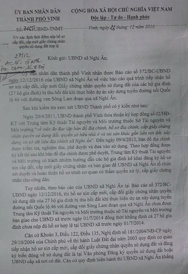 UBND TP Vinh gửi xã Nghi Ân liên quan đến việc 27 hộ dân xóm Kim Mỹ.