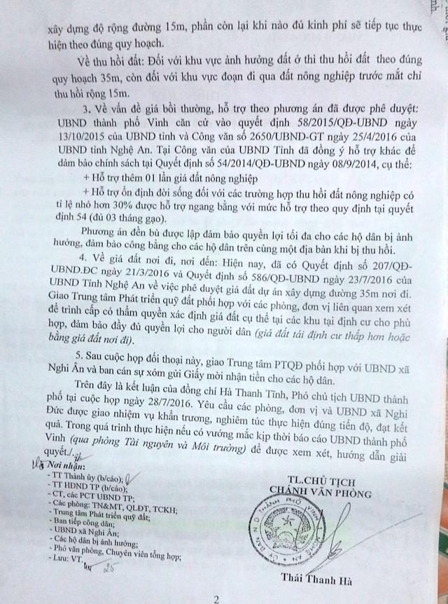Trong thông báo của ông Hà Thanh Tĩnh - PCT UBND TP Vinh trả lời các hộ dân.