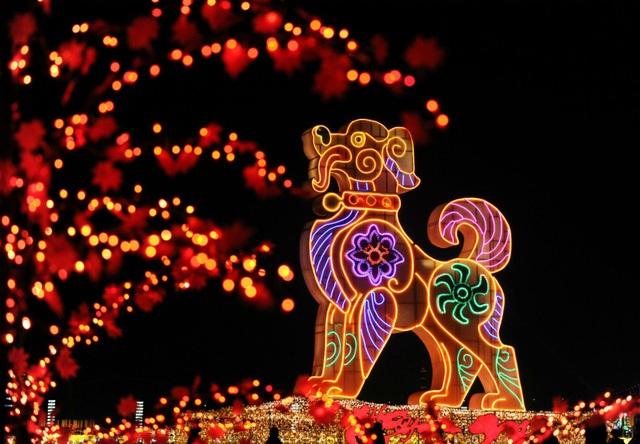 Tại quảng trường Tinh Hải ở thành phố Đại Liên, tỉnh Liêu Ninh, Trung Quốc, mô hình linh vật chó khổng lồ đã được dựng lên và trang hoàng rực rỡ. Tính theo con giáp trong tết âm lịch của người Trung Quốc, năm 2018 sẽ là năm con chó. (Ảnh: Reuters)