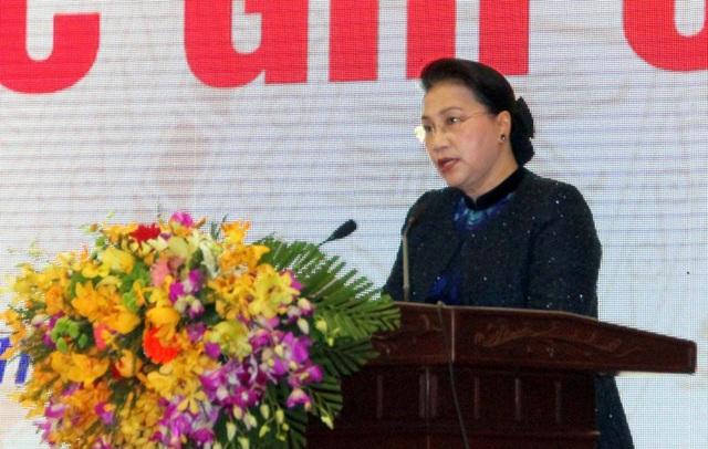 Chủ tịch Quốc hội Nguyễn Thị Kim Ngân phát biểu tại buổi lễ.
