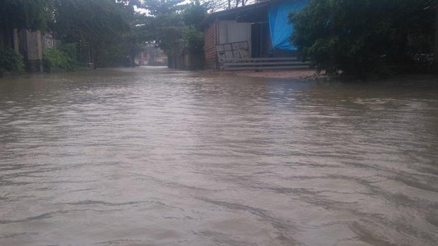 Nước ngập sâu gần 0,5m tại tuyến đường dẫn về xã Hải Tân, huyện Hải Lăng