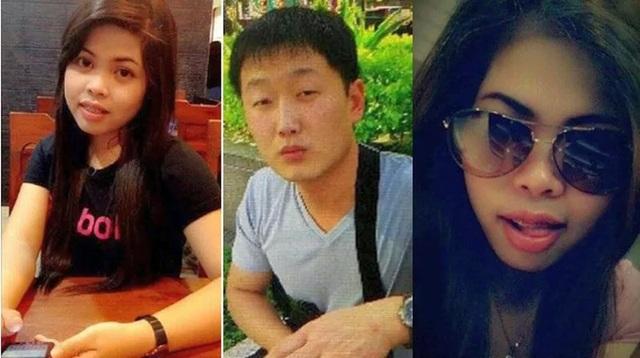 Nữ nghi phạm Indonesia Siti Aishah và nghi phạm Triều Tiên Ri Ji U có tên gọi James (giữa). (Ảnh: Getty)