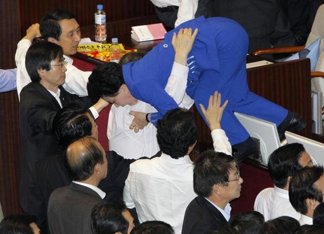 Các nghị sĩ đảng đối lập đang giúp nhau thoát khỏi cuộc ẩu đả với các nghị sĩ đảng cầm quyền trong một phiên họp tại Seoul, Hàn Quốc.