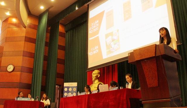 Đại diện Ủy ban Giáo dục của Nghị viện trẻ trình bày đề án đổi mới chương trình SGK phổ thông.