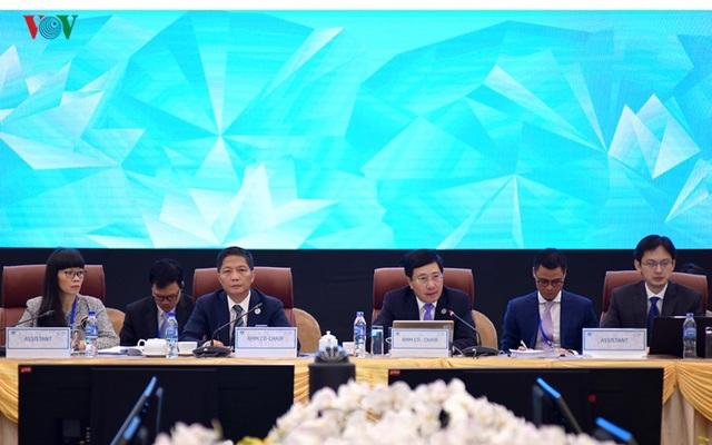 Chủ tịch Ủy ban Quốc gia APEC 2017, Phó Thủ tướng, Bộ trưởng Bộ Ngoại giao Phạm Bình Minh và Bộ trưởng Bộ Công Thương Trần Tuấn Anh đồng chủ trì Hội nghị. (Ảnh: VOV)