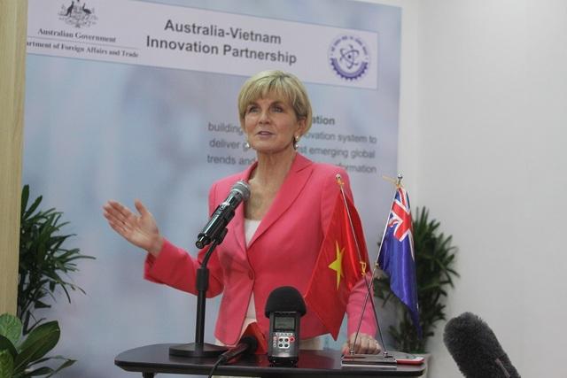 Bà Julia Bishop Bộ trưởng Bộ Ngoại giao và Thương mại Australia phát biểu tại lễ công bố Chương trình quan hệ đối tác về đổi mới sáng tạo Australia - Việt Nam.