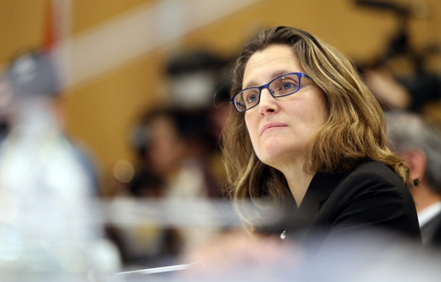 Ngoại trưởng Canada Chrystia Freeland (Ảnh: AFP)