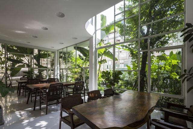 Căn nhà với tông chủ đạo là màu trắng, kết hợp với nội thất gỗ màu nâu nổi bật